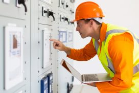 power-company-technical-worker-using-laptop-374590816
